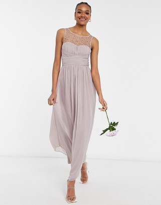 Little Mistress Bridesmaid chiffon maxi dress with pearl embellishment in mink