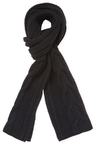"Cable Knit Cashmere Long Scarf, 70"" x 9"""