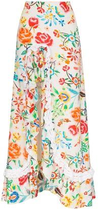 All Things Mochi Clara ruffled floral-print maxi skirt