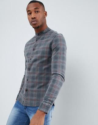 Asos Design DESIGN skinny fit denim check shirt with grandad collar-Grey