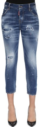 DSQUARED2 Cool Girl Cropped Destroyed Denim Jeans