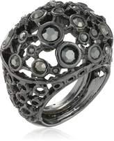 Kenneth Jay Lane Gunmetal and Circles Dome Ring, Size 5-7