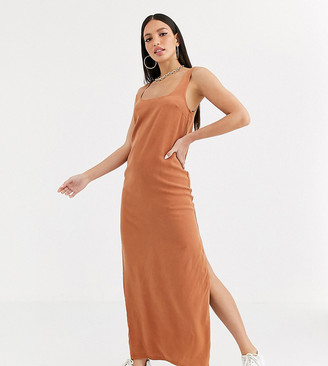 Asos Tall DESIGN Tall denim maxi slip dress in rust-Orange
