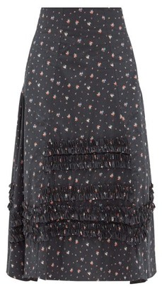 Molly Goddard Meryl Frilled Floral-print Cotton Skirt - Black Print