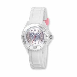 Tikkers Girls White Rubber/Silicone Strap Watch with Glitter Heart TK0034