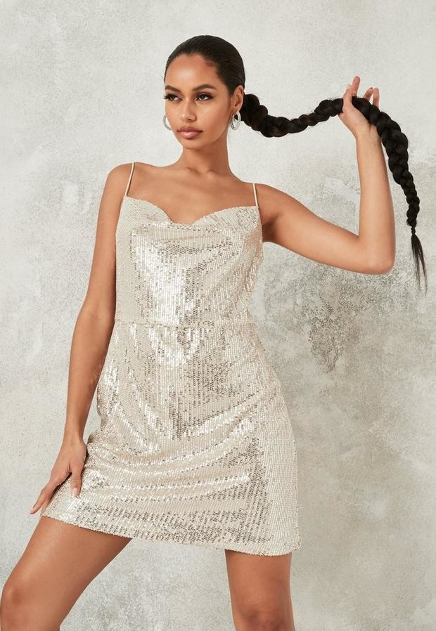 Missguided Champagne Sequin Cowl Slip Dress