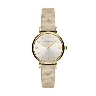 Emporio Armani Women's Stainless Steel Quartz Watch with Leather Calfskin Strap