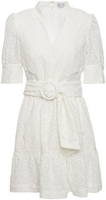 Rebecca Vallance Valentina Belted Broderie Anglaise Cotton Mini Dress