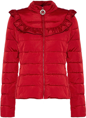 Love Moschino Ruffle-trimmed Quilted Shell Coat