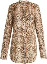ADAM by Adam Lippes Stand-collar leopard-print cotton shirt