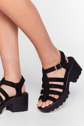 Nasty Gal Womens FAUX SUEDE CLEATED FISHERMAN SANDALS - Black
