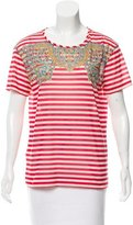 Carven Paisley & Striped Short Sleeve Top