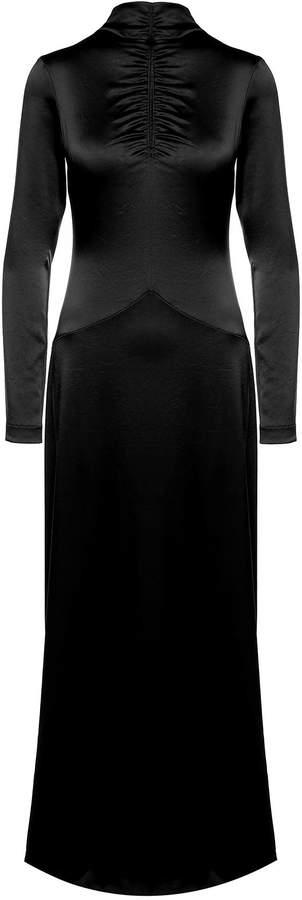 Cédric Charlier High-neck Satin Long Dress