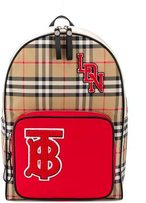 Burberry logo patch check backpack