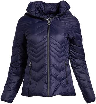 Michael Kors Women's Puffer Coats NAVY - Navy Chevron Quilted Jacket - Women