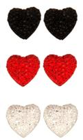 Black Red White Glitz Heart Trio Earring Set