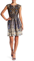 Gabby Skye Medallion Print Scuba Fit & Flare Dress