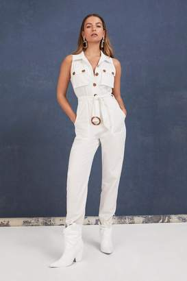 Nasty Gal Womens Onesie, Body/Bodysuit Is All It Takes Belted Buttoned Jumpsuit - White - 6, White