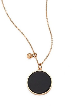 ginette_ny Ever Onyx & 18K Rose Gold Round Pendant Necklace
