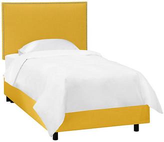 One Kings Lane Loren Kids' Bed - Mustard Linen - frame, black; upholstery, yellow; nailheads, silver