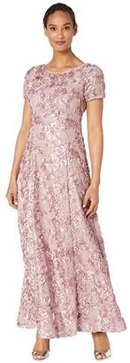 Alex Evenings Long A-Line Rosette Dress with Sequin Detail (Rose) Women's Dress