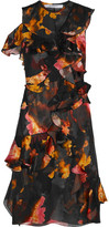 Givenchy Ruffled Printed Devoré Satin And Silk-chiffon Dress - Orange