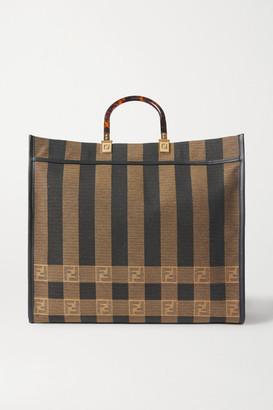Fendi Sunshine Shopper Leather-trimmed Canvas Tote - Brown