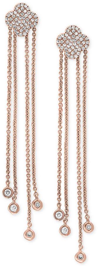 Effy Pave Rose by Diamond Dangle Drop Earrings (1/3 ct. t.w.) in 14k Rose Gold