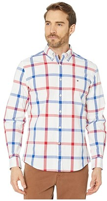 Tommy Hilfiger Talbot Plaid Long Sleeve Stretch Poplin Classic Fit (Bright White) Men's Clothing