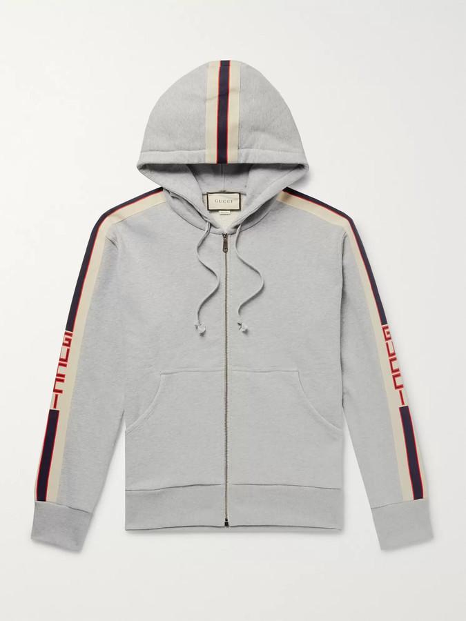 Gucci Logo Webbing-Trimmed Loopback Cotton-Jersey Zip-Up Hoodie - Men - Gray