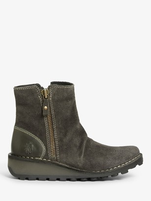 Fly London Mon Suede Wedge Heel Ankle Boots, Grey