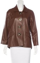 Oscar de la Renta Leather Button-Up Jacket