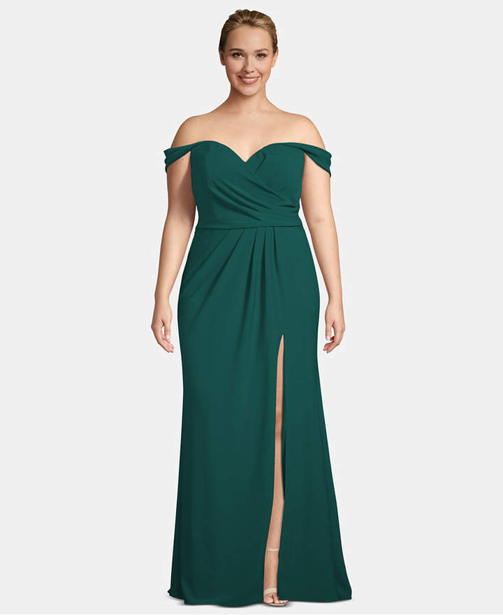 Xscape Evenings Plus Size Crepe Off-The-Shoulder Gown
