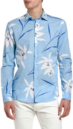 Etro Men's Big Floral Print Sport Shirt