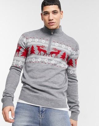 Threadbare christmas fairisle half zip sweater in gray