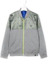 Armani Junior logo print bomber jacket