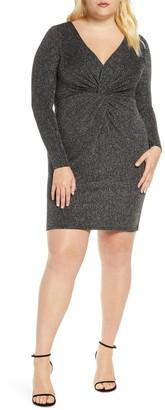 ELOQUII Knot Front Deep V Body-Con Dress