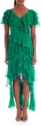 Badgley Mischka High-Low Tiered Ruffle Gown