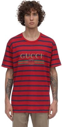 Gucci Logo Striped Linen & Cotton T-Shirt