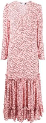 Rixo ruched V-neck floral print dress