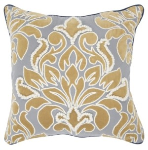 "Rizzy Home Damask Polyester Filled Decorative Pillow, 20"" x 20"""
