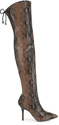 Stuart Weitzman Carine Over-The-Knee Snakeskin-Embossed Leather Boots