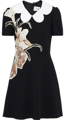 Valentino Floral-appliqued Wool-crepe Mini Dress