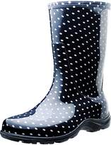 Principle Plastics Sloggers Womans Rain and Garden Boots with All-Day-Comfort Insoles, Black/White Polka Dot Print - Wos - Style 5013BP09