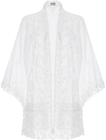 Juliet Dunn Cotton Kimono with Lace Floral Detail