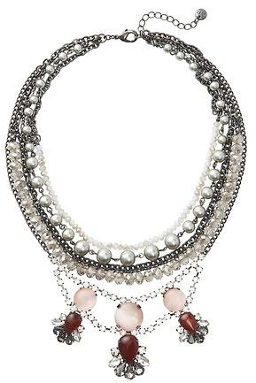 LOFT Multi Strand Gunmetal and Pink Gem Necklace