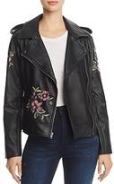 BB Dakota Baxley Embroidered Faux Leather Moto Jacket