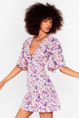 Nasty Gal Womens Bud Going Floral Mini Dress - Pink - 8, Pink