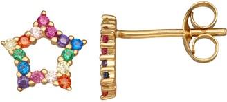 Junior Jewels Kids' Sterling Silver Rainbow Cubic Zirconia Star Earrings
