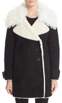 Burberry Women's Norhurst Suede Coat With Genuine Shearling Trim